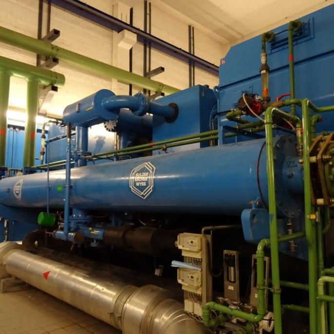 Sulzer-Kältemaschine in Kältezentrale Nord (Kälteleistung: 2,5 MW)